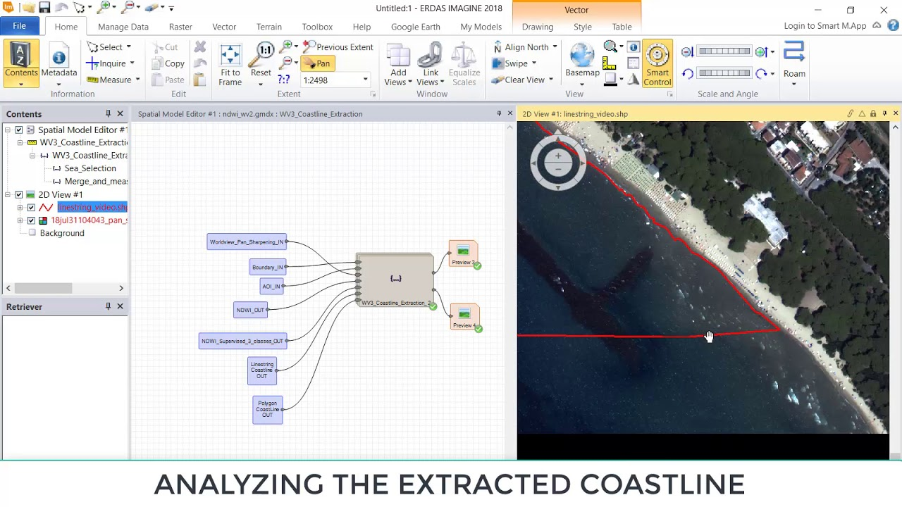 Automatic coastline extraction using high resolution WorldView satellite  imagery and ERDAS 2018