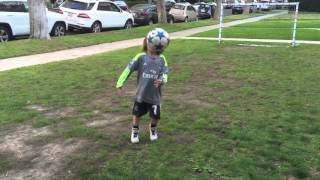 5 year old soccer player Brighton Lee Sagal tries to beat record.