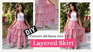 DIY - Convert Old Saree into a Layered Skirt | Ruffle Skirt