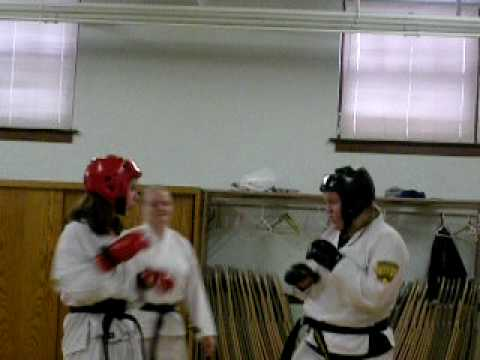 Catherine Beall and Laura Holly sparring