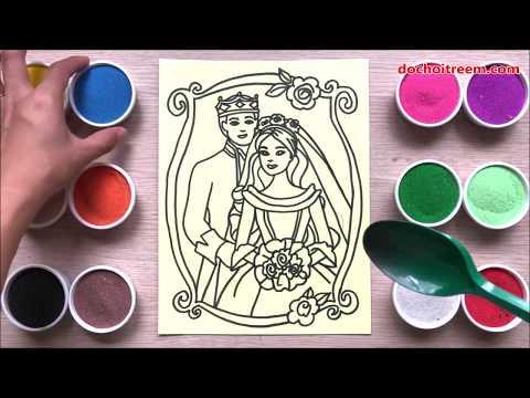 Đồ chơi trẻ em TÔ MÀU TRANH CÁT CÔ DÂU CHÚ RỂ - Colored sand painting toys (Chim Xinh)