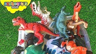 Dinosaur FIGHT in Box! T-Rex Carnotaurus Stegosaurus jurassic battle dino toys