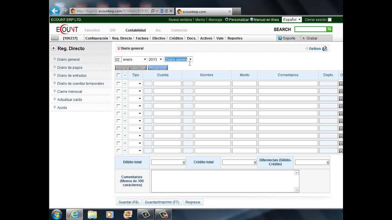 Contabilidad - Reg. Directo: Como registrar una entrada básica en el ...