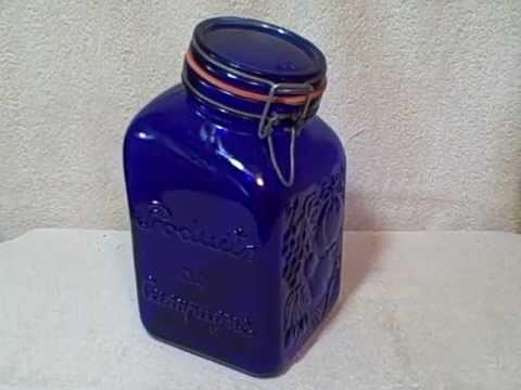 Vintage Casadis Milano Italy Cobalt Blue Glass Jar Products De Campagne