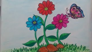 How to draw butterfly sitting on flower