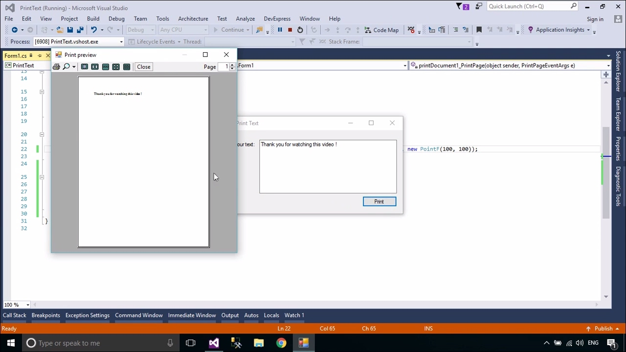 c tutorial print text in a windows form foxlearn youtube