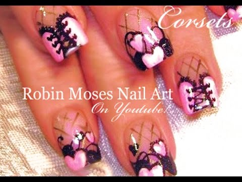Pink And Black Lace Heart Corset Nails Valentine S Day Nail Art Design
