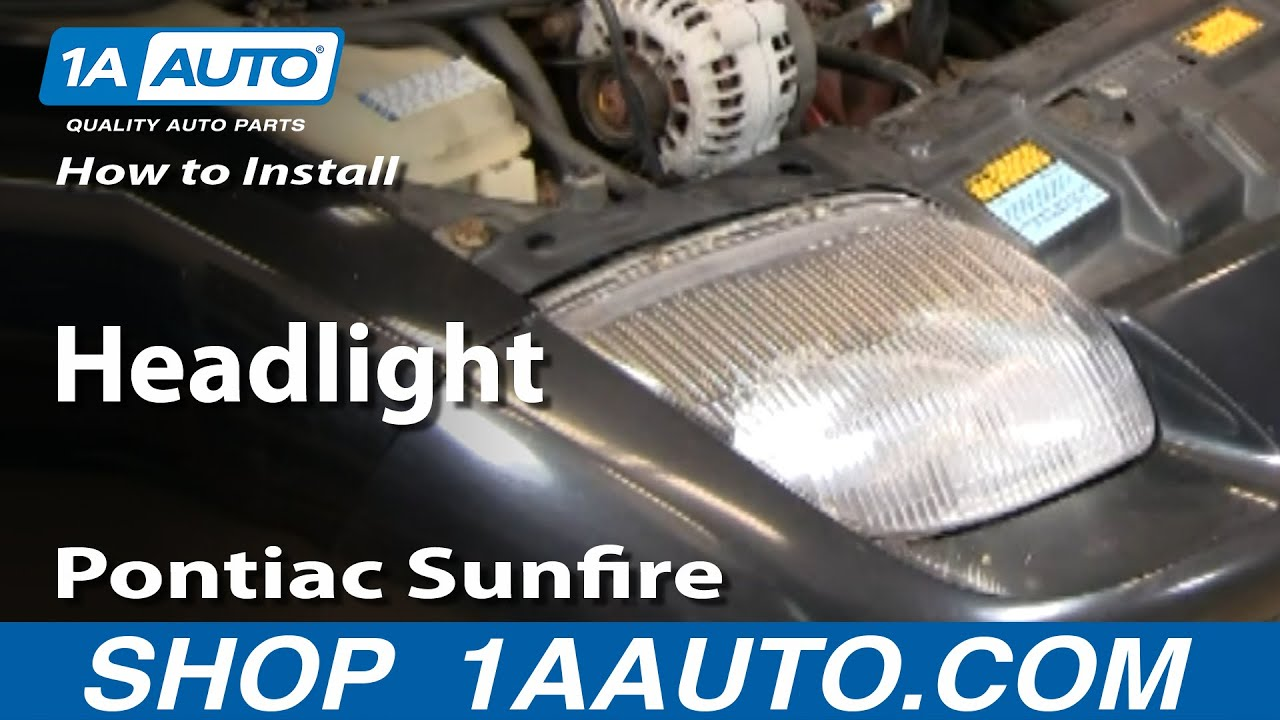 hight resolution of how to install replace headlight pontiac sunfire 95 02 1aauto com youtube