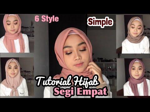 6 Tutorial Hijab Segi Empat Praktis Bahan Paris