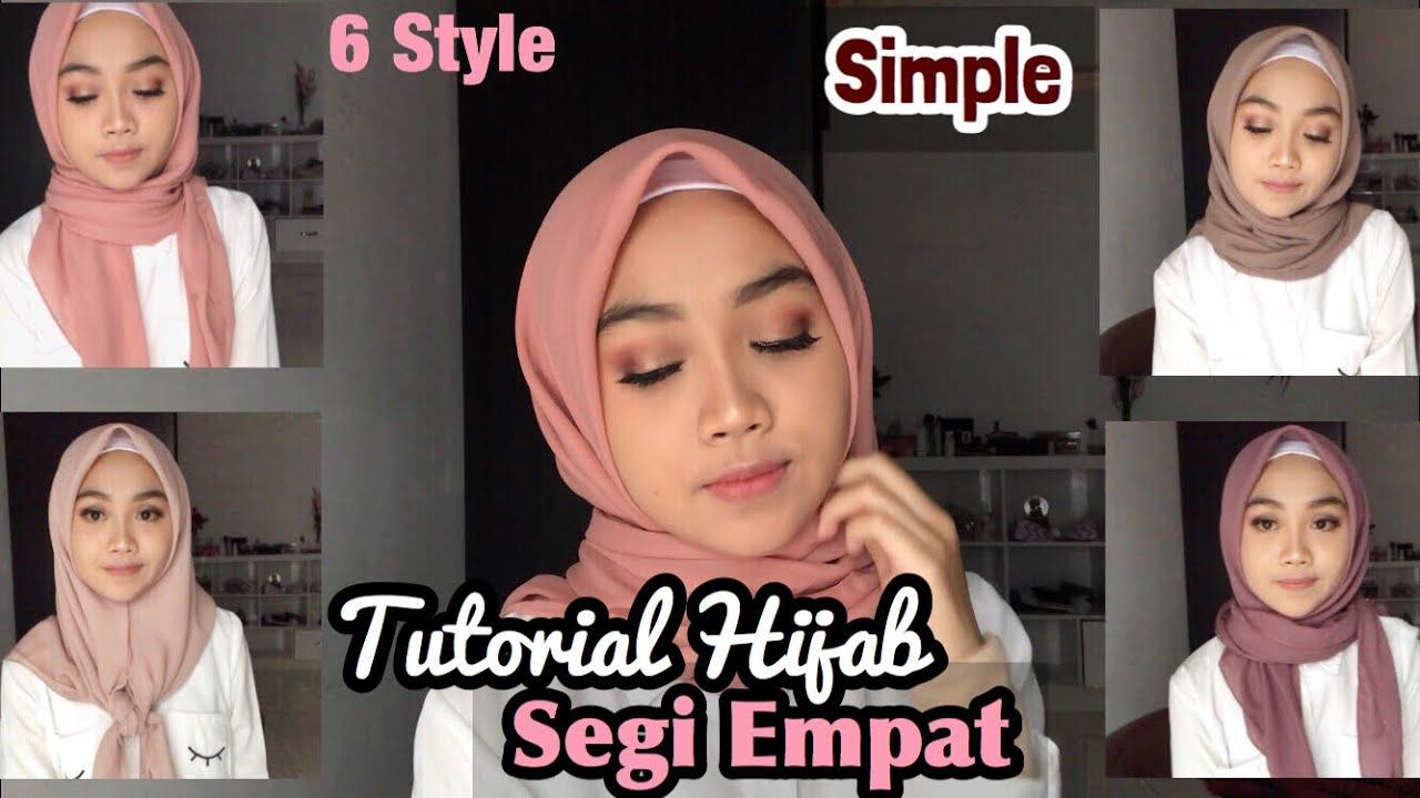 hijab segi empat simple sehari-hari (6 style) - youtube