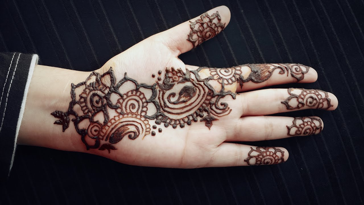 Simple Mehndi Tattoo Hands : Arabic henna strip easy mehendi design for beginners simple