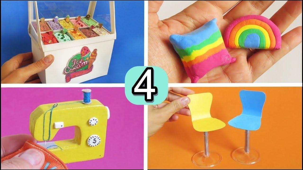 Diy 4 Miniaturas Y Manualidades Para Barbie Facil De Hacer Heladeria Maquina De Coser Sofa Sillas Youtube