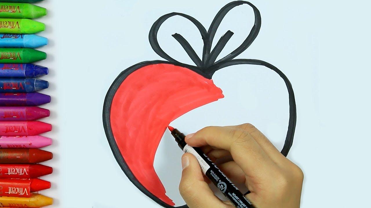 Cómo dibujar manzana | Dibujos para colorear manzana | Pintura de ...