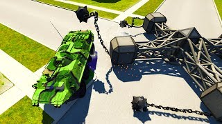 BeamNG Drive - BTR TANK VS GIANT SPINNER OF DEATH!