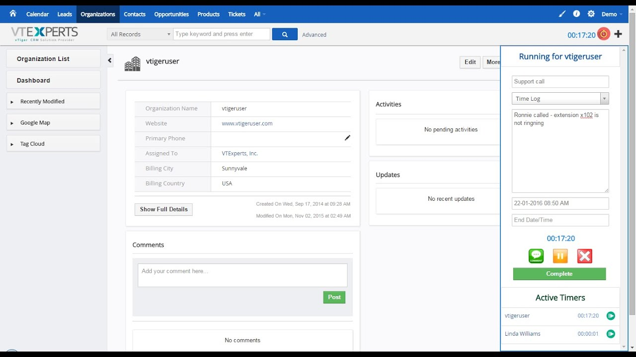 vtiger time tracker time management extension youtube
