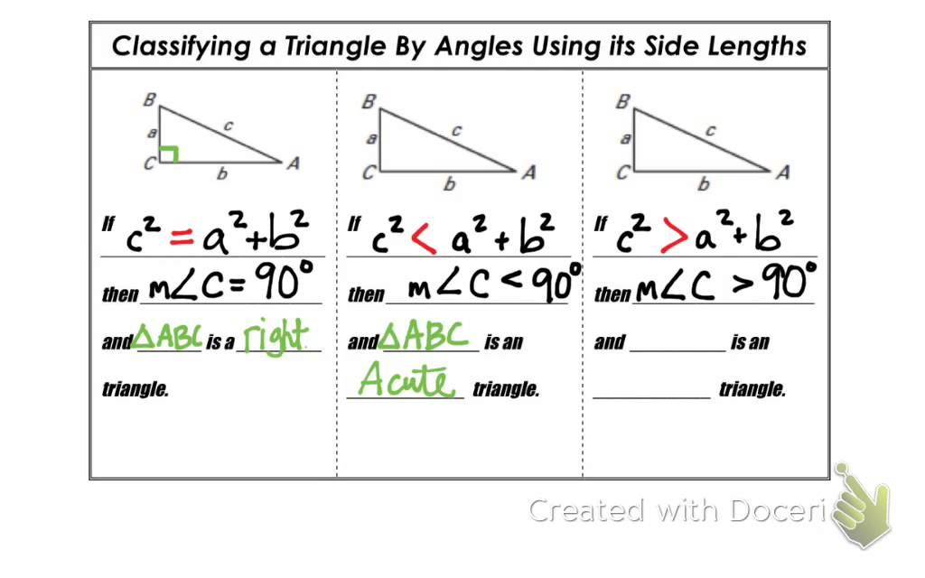 575d1bb862f2 Geometry 8.2b - Using the Converse of the Pythagorean Theorem - YouTube