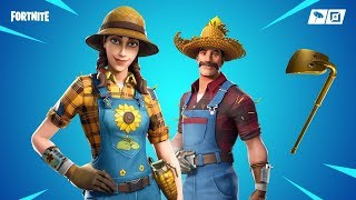 Fortnite new skins. Sunflower and Hayseed - Gold digger pickaxe