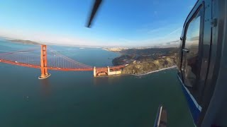 360 Video - Open Door Helicopter Ride over San Francisco CA