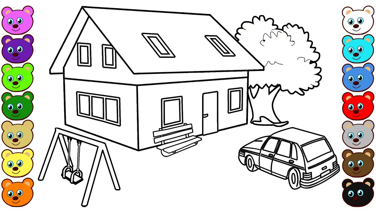 3d coloring pages - Learning Colors For Kids With 3d House Courtyard Coloring Pages