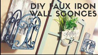 $3.00 DIY DOLLAR TREE FAUX IRON WALL SCONCES