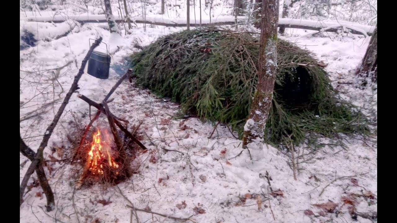 ШАЛАШ для выживания в зимнем лесу. ПОДГОТОВКА