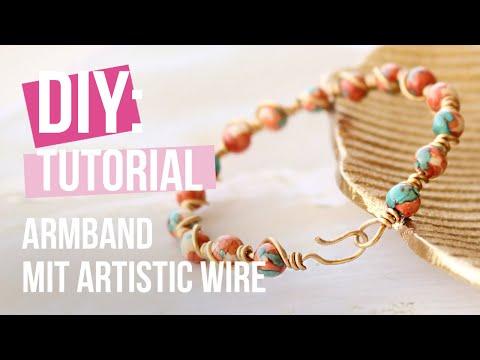 Schmuck herstellen: Ein Perlenarmband aus Naturstein Perlen und Artistic Wire herstellen