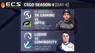 ECS CS:GO S4 DAY 4: SK vs Optic // Liquid vs Luminosity