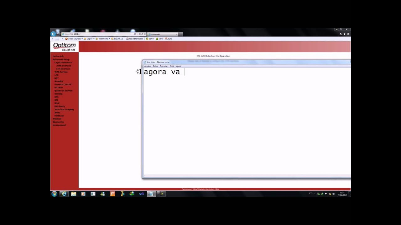Tutorial Como Rotear modem Opticom DSLink 485