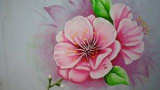 Flor de cerejeira – Pintura em tecido por Marcos Pedro