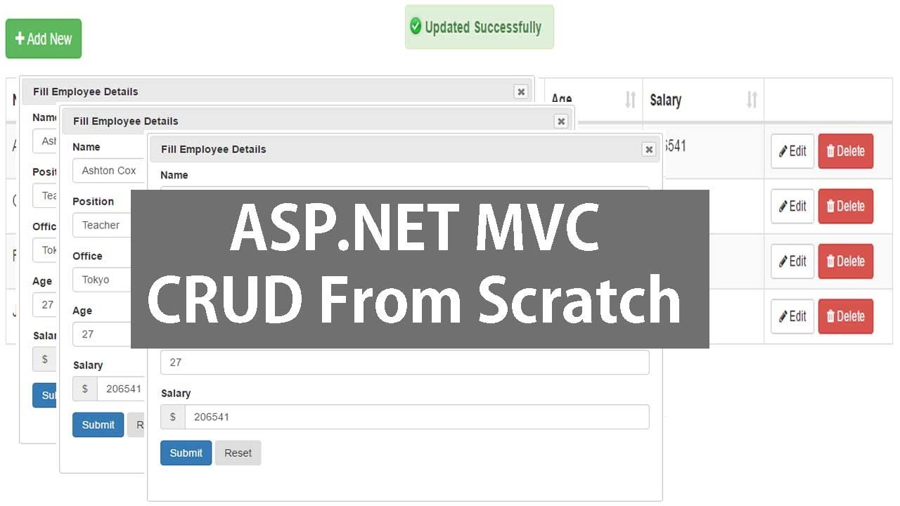 Asp Net MVC CRUD Operations Using Datatable