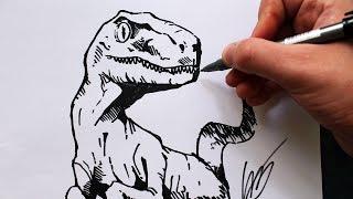 Como Desenhar um Dinossauro [Velociraptor] - (How to Draw a Velociraptor) - SLAY DESENHOS #173