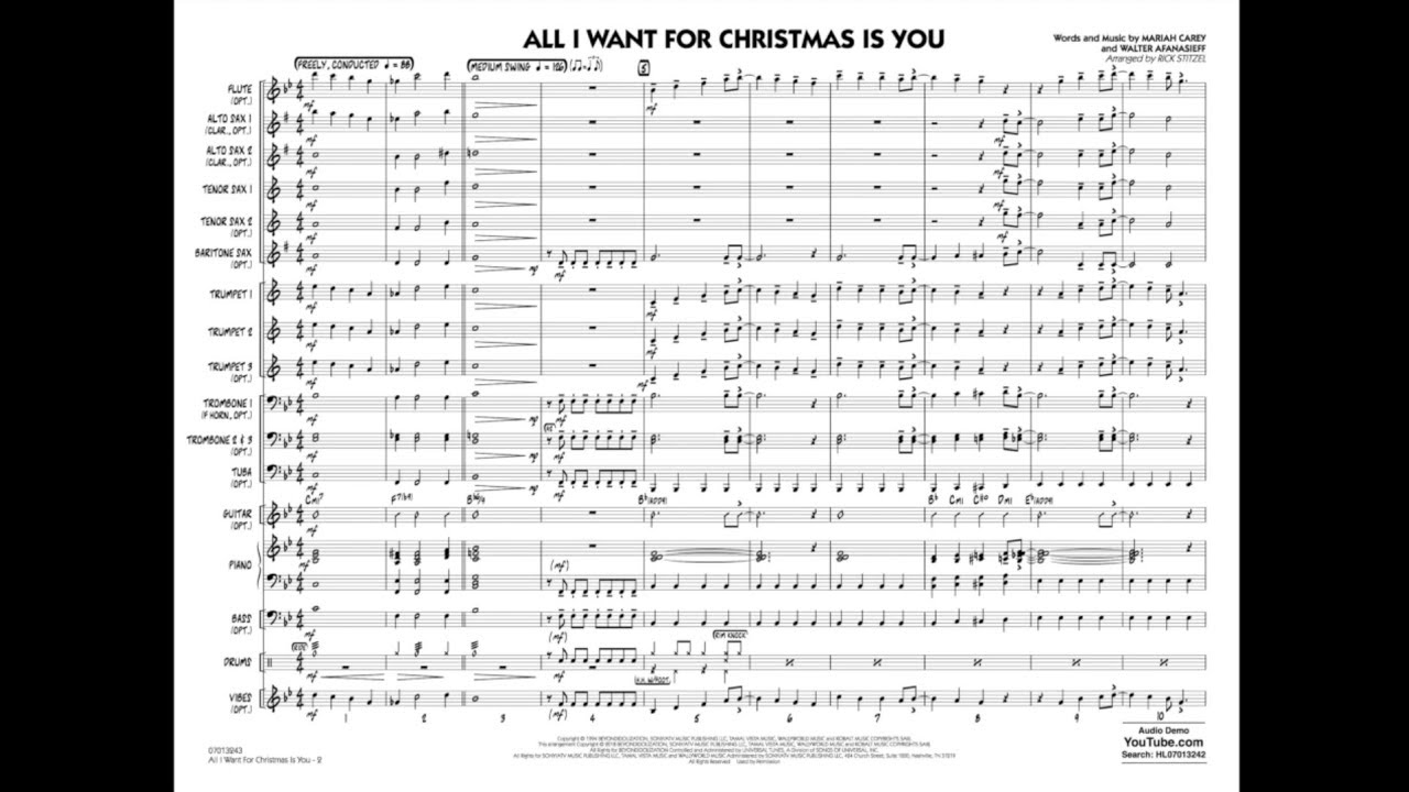 All I Want For Christmas Is You arranged by Rick Stitzel - YouTube