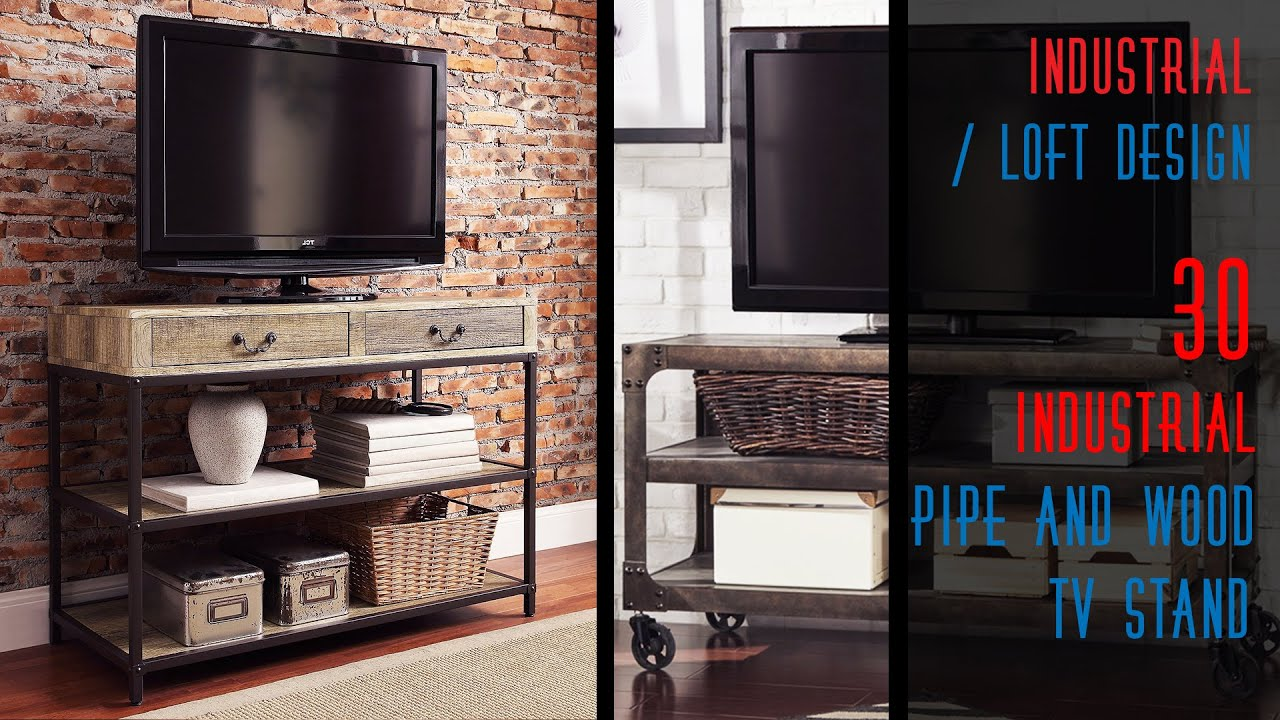 30 diy industrial tv stands youtube. Black Bedroom Furniture Sets. Home Design Ideas