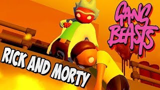 Gang Beasts German Gameplay - Rick and Morty hauen sich aufs Maul