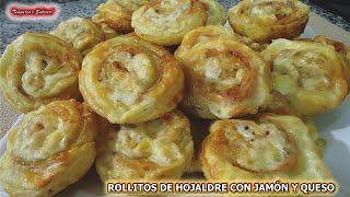 ROLLITOS DE HOJALDRE CON JAMÓN Y QUESO SNACKS TAPAS PASAPALOS RIQUISIMOS Y FÁCILES DE HACER