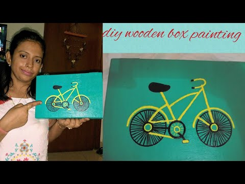diy wooden box makeover♡old wooden box become new♡box makeover using acrylic paint♡cycle drawing diy