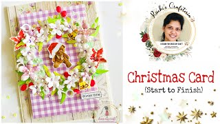 How to make Christmas Card with Dress My Craft | Step by Step | Ruchi's Crafeteria