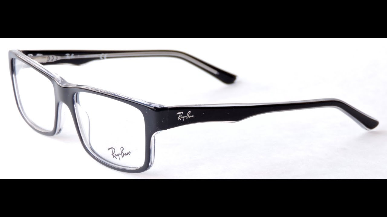 4900c7b6d58 Ray Ban RX5245 Eyeglasses 2034 TOP BLACK ON TRANSPARENT - YouTube