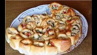 Отрывной мясной пирог Хризантема. Необычная формовка. Нарезать не нужно!