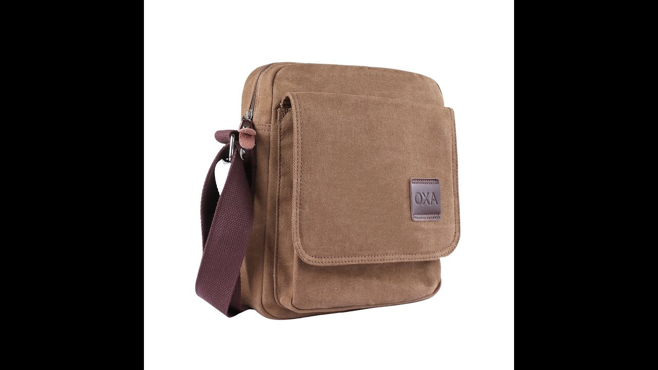 OXA Small Vintage Canvas Messenger Tablet Bag Review - YouTube 20b6307c8437b