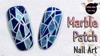 Marble Patch,  Tile Nail Art (Gel nails, Tutorial)