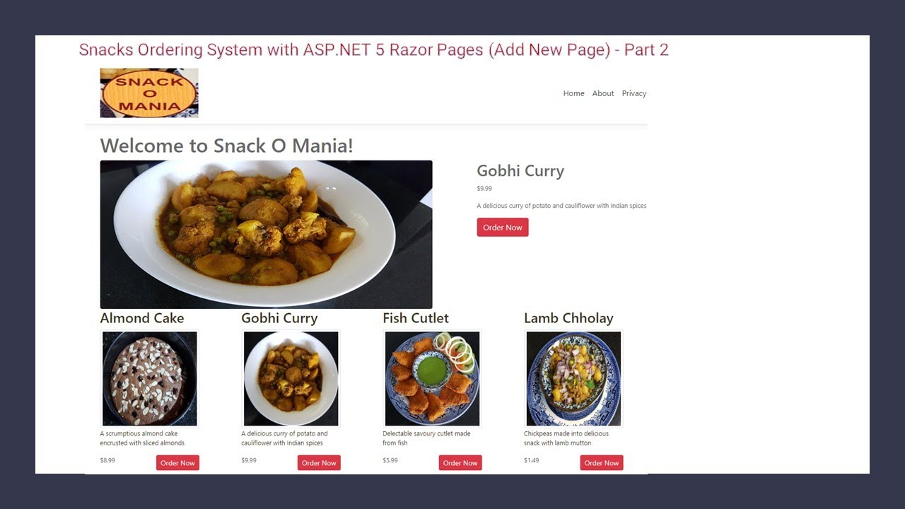 Snacks Ordering System with ASP.NET 5 Razor Pages (Add Model) - Part 3