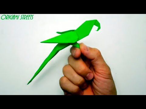 How to make a parrot from paper. Origami a parrot from paper.