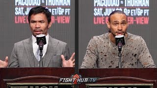 THE FULL MANNY PACQUIAO VS KEITH THURMAN FINAL PRESS CONFERENCE & FACE OFF VIDEO