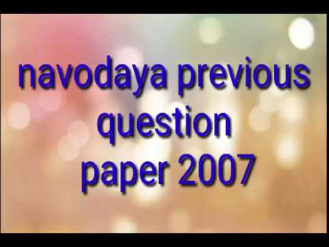 Navodaya entrance exam previous years questions paper 2007 for class 6