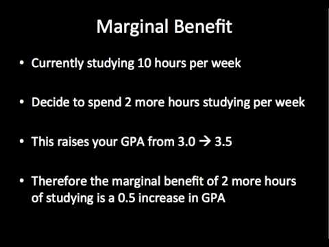 marginal cost or benefits In economics, one of the primary measuring sticks for making decisions is weighing marginal benefits and marginal costs what do we mean by the word marginal.