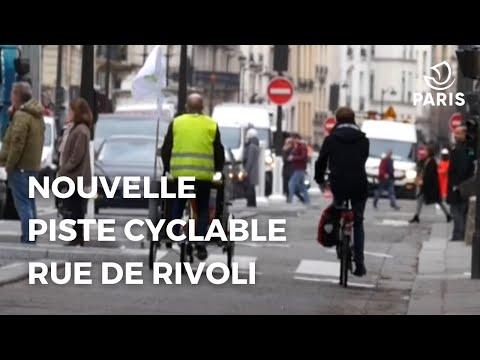 Nouvelle piste cyclable rue de Rivoli