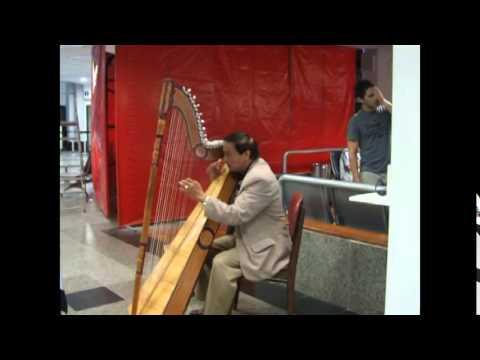 Harpist in Paraguay Airport