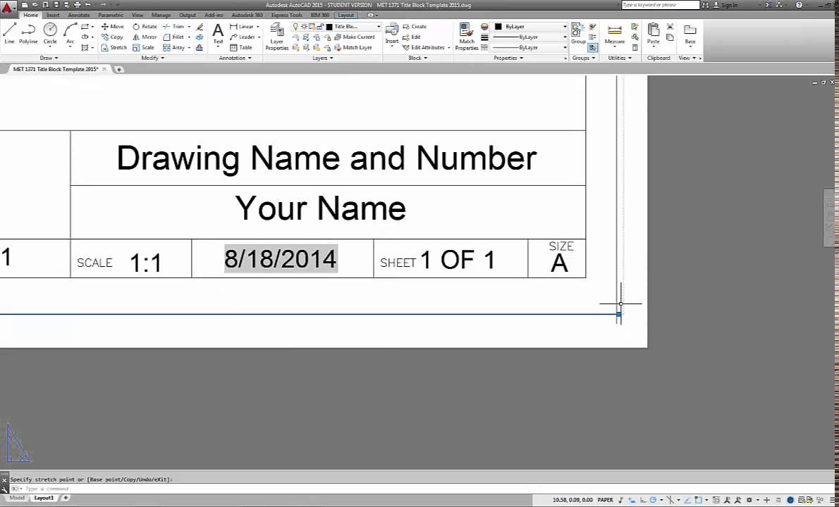 Autocad 2015 How To Create Titleblock Templates For Layouts Youtube