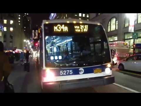 NYC Bus Special: Waterside bound LFS Artic 5275 (Unwrapped) M34A SBS at 34 St/5 Av